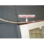 pre sale building inspections - image showing no head flashing above the window