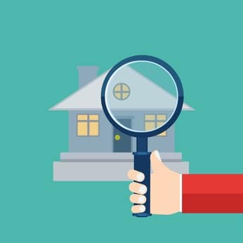 magnifying glass over a illustration of a house to illustrate a property inspection