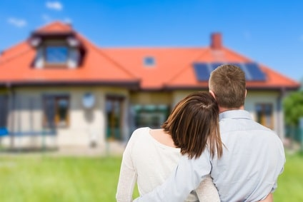 young couple wondering if they should purchase house - get a building inspection \ house inspection concept